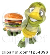 Clipart Of A 3d Tortoise Holding A Double Cheeseburger Royalty Free Illustration