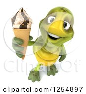 Clipart Of A 3d Tortoise Holding Up An Ice Cream Cone Royalty Free Illustration