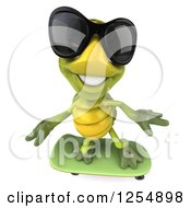 Clipart Of A 3d Tortoise Wearing Sunglasses And Skateboarding 3 Royalty Free Illustration
