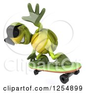 Clipart Of A 3d Tortoise Wearing Sunglasses And Skateboarding 4 Royalty Free Illustration