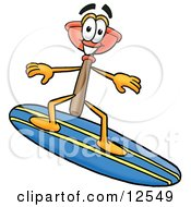 Sink Plunger Mascot Cartoon Character Surfing On A Blue And Yellow Surfboard by Toons4Biz