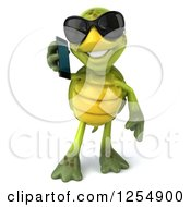 Clipart Of A 3d Tortoise Wearing Sunglasses And Talking On A Cell Phone Royalty Free Illustration