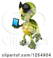 Clipart Of A 3d Tortoise Wearing Sunglasses And Holding A Smart Phone Royalty Free Illustration
