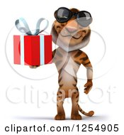 Clipart Of A 3d Tiger Wearing Sunglasses And Holding A Present Royalty Free Illustration