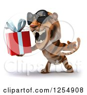 Clipart Of A 3d Tiger Wearing Sunglasses Roaring And Holding A Present Royalty Free Illustration