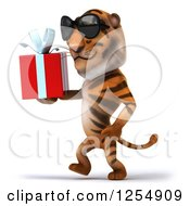 Clipart Of A 3d Tiger Wearing Sunglasses And Walking With A Present Royalty Free Illustration