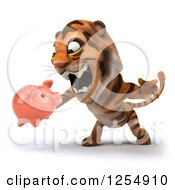 Clipart Of A 3d Tiger Roaring And Holding A Piggy Bank Royalty Free Illustration