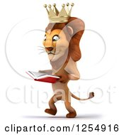 Clipart Of A 3d Male Lion King Walking And Reading A Book Royalty Free Illustration