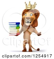 Clipart Of A 3d Male Lion King Holding Books Royalty Free Illustration