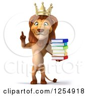 Clipart Of A 3d Male Lion King Holding Books And A Finger Up Royalty Free Illustration