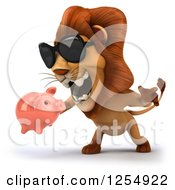 Clipart Of A 3d Male Lion Wearing Sunglasses Roaring And Holding A Piggy Bank Royalty Free Illustration