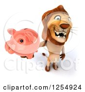 Clipart Of A 3d Male Lion Holding A Piggy Bank Royalty Free Illustration