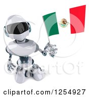 Clipart Of A 3d White And Blue Robot Holding Up A Mexican Flag Royalty Free Illustration