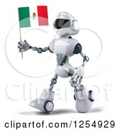 Clipart Of A 3d White And Blue Robot Walking With A Mexican Flag Royalty Free Illustration
