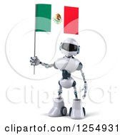 Clipart Of A 3d White And Blue Robot Holding A Mexican Flag Royalty Free Illustration