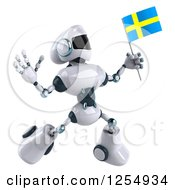 Clipart Of A 3d White And Blue Robot Jumping With A Swedish Flag Royalty Free Illustration