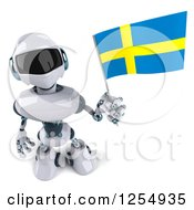 Clipart Of A 3d White And Blue Robot Holding Up A Swedish Flag Royalty Free Illustration