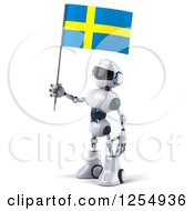 Clipart Of A 3d White And Blue Robot Holding A Swedish Flag Royalty Free Illustration