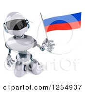 Clipart Of A 3d White And Blue Robot Holding A Russian Flag Royalty Free Illustration