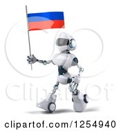 Clipart Of A 3d White And Blue Robot Walking With A Russian Flag Royalty Free Illustration