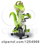 Clipart Of A 3d Green Gecko Exercising On A Spin Bike Royalty Free Illustration