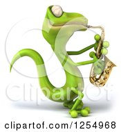 Clipart Of A 3d Green Gecko Playing A Saxophone Royalty Free Illustration