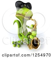Clipart Of A 3d Green Gecko Wearing Sunglasses And Playing A Saxophone Royalty Free Illustration