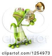 Clipart Of A 3d Green Gecko Playing A Trumpet Royalty Free Illustration