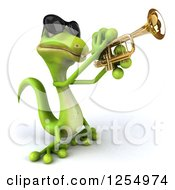 Clipart Of A 3d Green Gecko Wearing Sunglasses And Playing A Trumpet Royalty Free Illustration