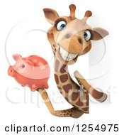 Clipart Of A 3d Giraffe Holding A Piggy Bank Around A Sign Royalty Free Illustration
