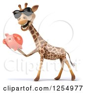 Clipart Of A 3d Giraffe Wearing Sunglasses And Holding A Piggy Bank Royalty Free Illustration