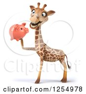 Clipart Of A 3d Giraffe Holding A Piggy Bank Royalty Free Illustration