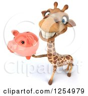 Clipart Of A 3d Giraffe Holding Up A Piggy Bank Royalty Free Illustration