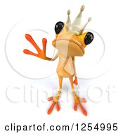 Clipart Of A 3d Yellow Frog Prince Waving Royalty Free Illustration