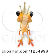 Clipart Of A 3d Yellow Frog Prince Royalty Free Illustration