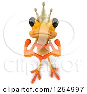 Clipart Of A 3d Yellow Frog Prince Making A Heart With His Hands Royalty Free Illustration