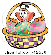Sink Plunger Mascot Cartoon Character In An Easter Basket Full Of Decorated Easter Eggs