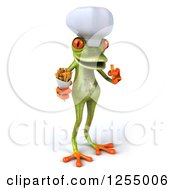 Clipart Of A 3d Green Frog Chef Eating Fries Royalty Free Illustration