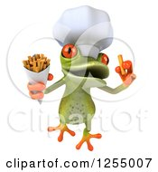 Clipart Of A 3d Green Frog Chef Jumping And Eating Fries Royalty Free Illustration
