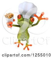 Clipart Of A 3d Green Frog Chef Jumping With Fries Royalty Free Illustration