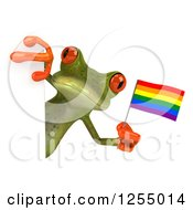 Clipart Of A 3d Green Frog Holding A Rainbow Flag Around A Sign Royalty Free Illustration