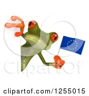 Clipart Of A 3d Green Frog Holding An English Flag Around A Sign Royalty Free Illustration by Julos