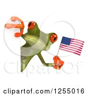 Clipart Of A 3d Green Frog Holding An American Flag Around A Sign Royalty Free Illustration