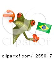 Clipart Of A 3d Green Frog Holding A Brazilian Flag Around A Sign Royalty Free Illustration