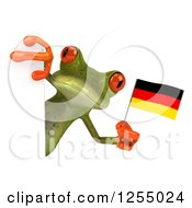 Clipart Of A 3d Green Frog Holding A German Flag Around A Sign Royalty Free Illustration