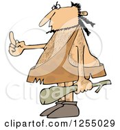 Clipart Of A Hairy Caveman Holding A Club And Flipping The Bird Royalty Free Vector Illustration