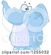 Clipart Of A Friendly Blue Elephant Waving Royalty Free Vector Illustration by yayayoyo