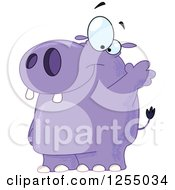 Clipart Of A Friendly Purple Hippo Waving Royalty Free Vector Illustration