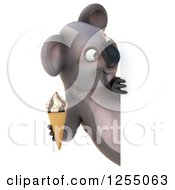 Clipart Of A 3d Koala Holding An Ice Cream Cone Around A Sign Royalty Free Illustration
