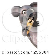 Clipart Of A 3d Koala Eating An Ice Cream Cone Around A Sign Royalty Free Illustration